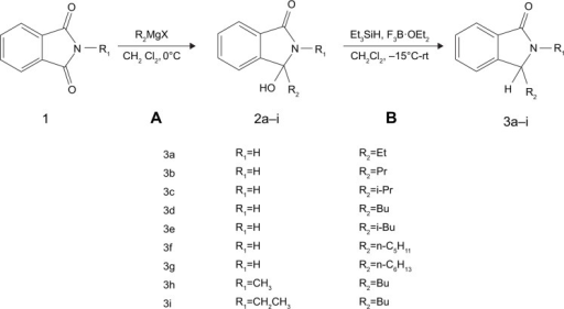 Synthesis of compounds 3a–i.Notes: Reagents and conditions: (A) CH2Cl2, under N2, stirred for 3 hours and (B) anhydrous CH2Cl2, with Et3SiH and F3B⋅OEt2, −15°C under N2 then to room temperature, overnight.Abbreviation: rt, room temperature.