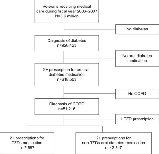 Cohort selection.Abbreviations: COPD, chronic obstructive pulmonary disease; TZD, thiazolidinedione.