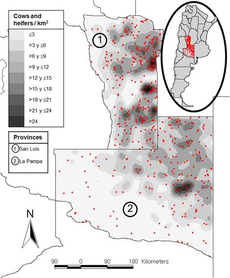 Map of Argentina (circle) showing the studied area (red dots), and a detail of La Pampa and San Luis provinces showing a kernel density of cows and heifers (tones of grey) and the geographic distribution of the 451 sampled farms (red dots)