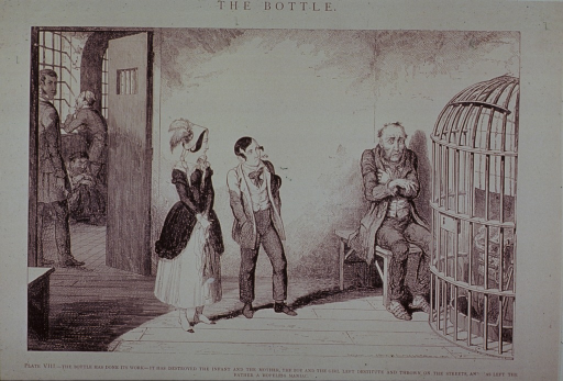 <p>A man, ruined by alcohol and placed in an institution, is huddled before a locked cage that protects a stove; he is visited by a son and daughter. Through a doorway, a wide-eyed maniac sits on the floor and a man holding a key waits outside the door.</p>