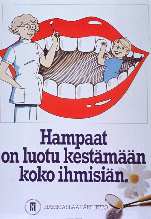 <p>Predominantly white poster with purple lettering.  Illustration at top of poster features a large, disembodied smile.  A woman stands in front of the smile and holds up a dental mirror.  A boy stands inside the smile and polishes an upper tooth.  Title below illustration.  Photo reproduction featuring a daisy and a dental mirror in lower right corner.  Publisher information at bottom of poster.</p>