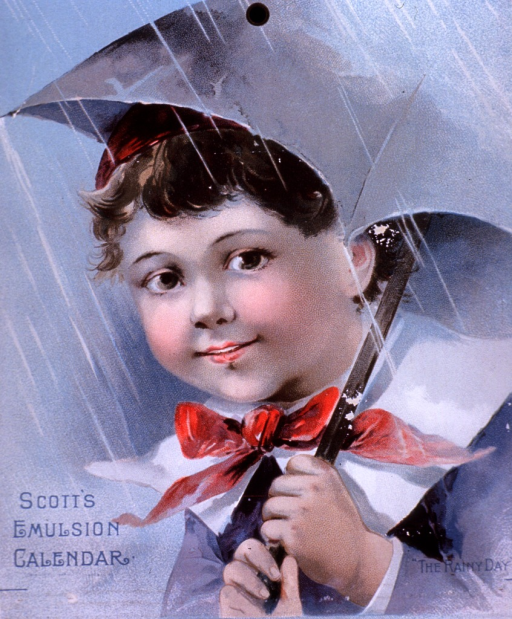 <p>Scott's Emulsion of Pure Cod Liver Oil presented as a cure for consumption and other &quot;wasting diseases of children.&quot;  Visual motif:  Showing healthy looking child under open umbrella.</p>