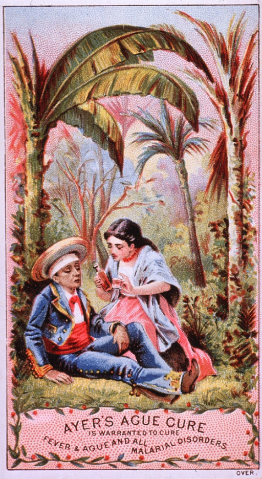 <p>Advertising card for Ayer's Ague Cure, which claims to neutralize &quot;malarial poison, and expels it from the system.&quot;  Visual motif:  Tropical setting, a woman administering Ayer's Ague Cure to a man; both wearing Spanish style clothing.</p>