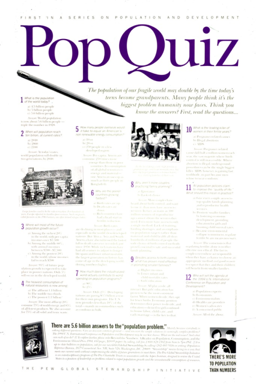 <p>White poster with black and purple lettering.  Title at top of poster.  Poster dominated by text, presented as a multiple choice quiz with an explanation of the answers.  Visual images include three b&amp;w photo reproductions and an illustration.  Photos show a pioneer family standing in front of a log cabin, a four-member Asian family, and the cover of the book &quot;Beyond numbers.&quot;  Illustration is a logo featuring two people standing behind a globe.  Publisher information at bottom of poster.</p>