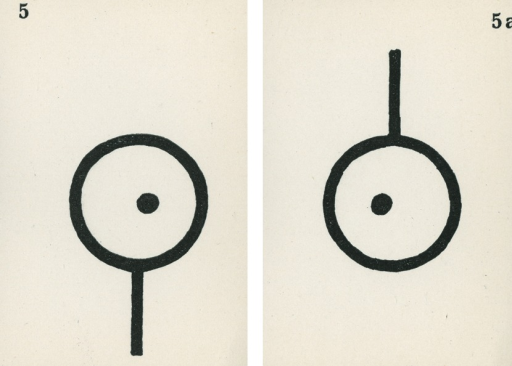 <p>A pair of strabismus diagnostic and exercise cards in black and white.  The card to the left, 5, has the image of a dot in a magnifying glass with the handle pointing down; the card to the right, 5a, has the image of a dot in a magnifying glass with the handle pointing up.  Stereoskopische Bilder fur schielende Kinder.</p>