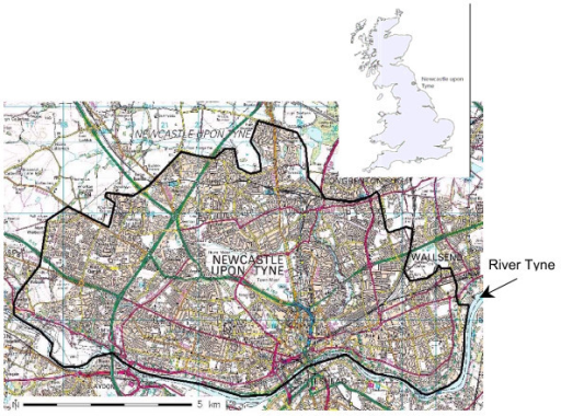 Map of Newcastle upon Tyne with the PAMPER study area boundaries (black line) (© Crown Copyright/database right 2007. An Ordnance Survey/EDINA supplied service).