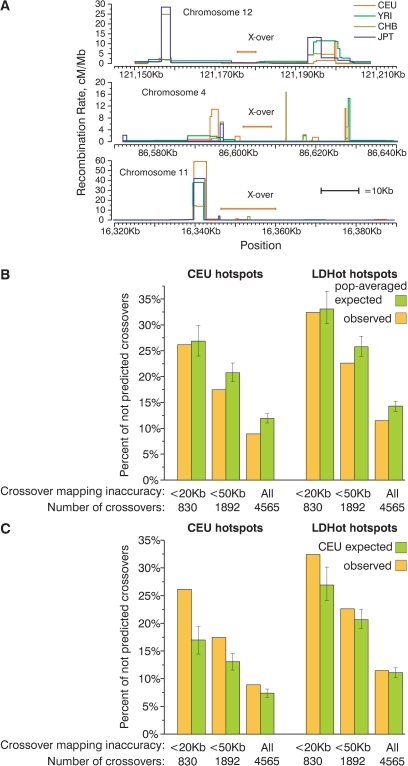 A substantial fraction of present-day crossovers is not predicted by historic recombination rate profiles.(A) Examples of small present day crossover intervals that do not overlap historic hotspots. (B,C) Percentage of present-day crossovers in CEPH families not predicted by overlapping hotspots. The percentages of crossovers that do not overlap CEU and LDHot hotspots were calculated for several subsets of all crossovers defined with various degrees of accuracy. For comparison, the same percentage was calculated for crossovers distributed according to probabilities determined by population-averaged (B) and CEU (C) recombination rate maps. Mean and 95% CI are plotted on the graph. A large fraction of crossovers is not predicted by hotspots.
