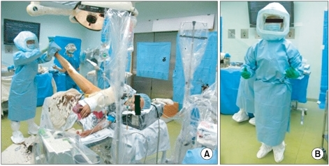Preparation of the operating room and operator. All preparations were carried out according to the guidelines of HIV infection control set by the Korea Centers for Disease Control and Prevention.