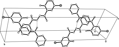 The crystal packing of the title compound. Dashed lines show hydrogen bonds.