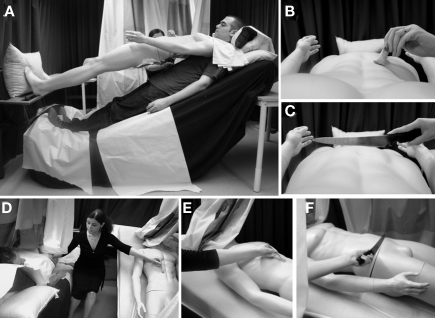 Experimental set-up developed to induce the body-swap illusion without head-mounted displays and video-technology (experiment #3). (A–C) The experimental set-up and the participant's field of sight in the conditions in which the mannequin's body was viewed directly from the first person perspective. (D–F) The set-up developed to probe the full-body illusion when the mannequin's body was perceived from the third person perspective.