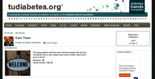 Screenshot from Tudiabetes (they created a group for volunteers, who ensure new members are welcomed).