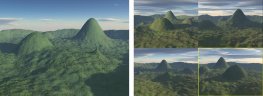 The Four Mountains Task. Left panel: a typical example of a stimulus image. Right panel: four forced-choice response items. Each shows a different arrangement of topography, one of which is the stimulus shown from a different position. The correct response is highlighted for clarity in this figure only.