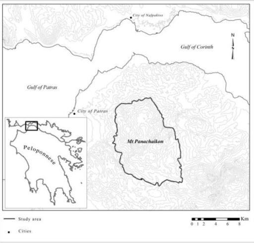 Map of the study area. Topographic map of North Peloponnese-Greece, indicating the study area of Mt. Panachaikon (1926 m).