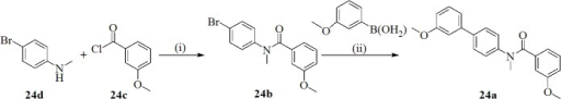 Synthesis of 1,4-Phenyl Retroamide Derivative 24a.Reagents and conditions: (i) Et3N, CH2Cl2, room temperature, overnight; (ii) DME/EtOH/H2O (1:1:1), Cs2CO3, Pd(PPh3)4, microwave irradiation (150°C, 150W, 20 min).