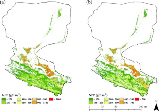 Spatial distribution of GPP and NPP of Heihe River Basin during the growing season of 2012.(a) GPP. (b) NPP.