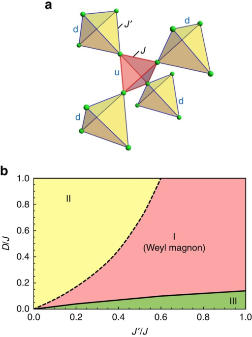 The breathing pyrochlore and the phase diagram.(a) The breathing pyrochlore. The letter u(d) refers to the up-pointing (down-pointing) tetrahedra and J(J′) indicates the nearest-neighbour exchange couplings on the up-pointing (down-pointing) tetrahedra. (b) The phase diagram. Regions I and II have the same magnetic order and belong to the same phase, but the magnetic excitations of the two regions are topologically distinct. Region III has a different magnetic order. The details of the phase diagram are discussed in the main text.