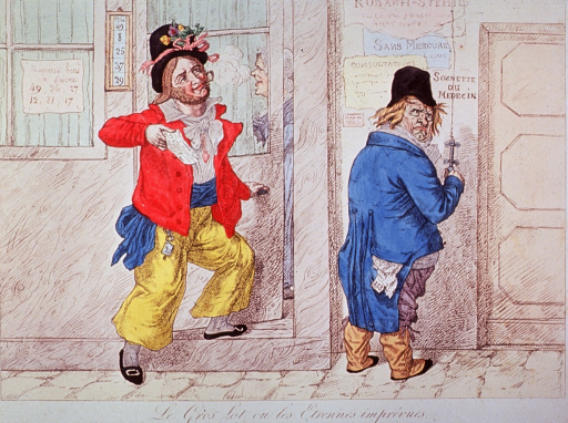 <p>Two men suffering from venereal disease stand at the door of a physician.</p>