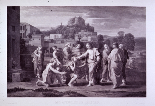 <p>Christ healing the blind at Jericho.</p>