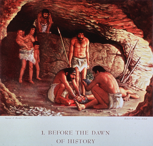 <p>Interior view, prehistoric cave scene, early man's methods of medical treatment.</p>