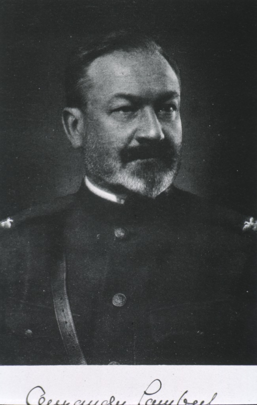 <p>Head and shoulders, front pose, head turned to the right; wearing uniform.</p>