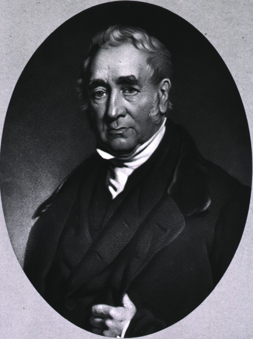 <p>Full face, as elderly man.  In oval on line background; hand in coat.</p>
