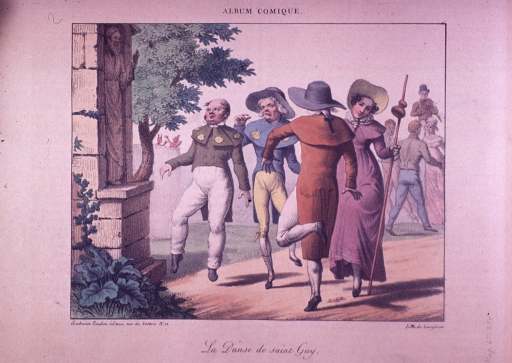 <p>A procession of patients dance in the street.</p>