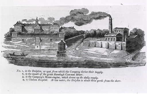 <p>View of Thames at the Grand Juction Waterworks, showing introduction of sewage into water supply of Chelsea Hospital.  Industrial smoke visible.</p>