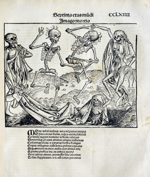 <p>Skeletons are rising from the dead for the dance of death.</p>