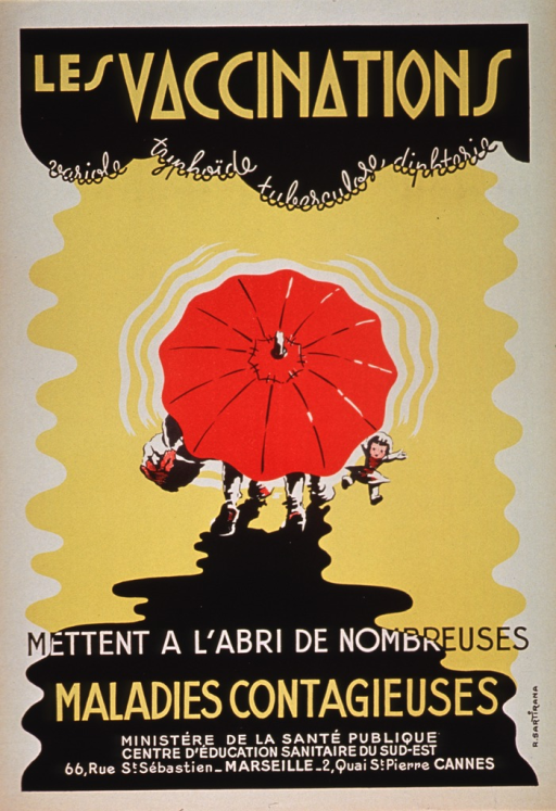 <p>Predominantly yellow and black poster with yellow and white lettering.  Initial title phrase at top of poster.  Note below title phrase.  Visual image is an illustration of two children walking with a large red umbrella.  The umbrella is open and obscures most of the view of the children, except their feet and what they carry (a package and a doll).  Remaining title text below illustration.  Publisher information at bottom of poster.</p>