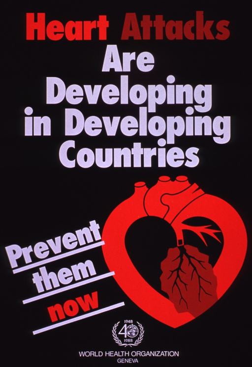 <p>Predominantly black poster with red and white lettering.  Title at top of poster.  Visual image is an illustration of a stylized heart, part of which is cracking.  Caption next to illustration.  Publisher logo and information at bottom of poster.</p>