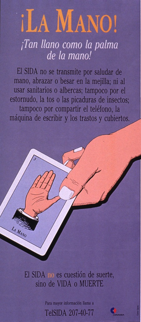<p>Predominantly purple poster with multicolor lettering.  Title at top of poster.  Lengthy caption below title dispels many myths about how AIDS is transmitted.  Visual image is an illustration of a hand holding a card suggestive of a tarot card; the card features a hand raised to display the palm.  Note below illustration indicates that AIDS is not a question of luck, just life or death.  Hotline number and publisher information at bottom of poster.</p>