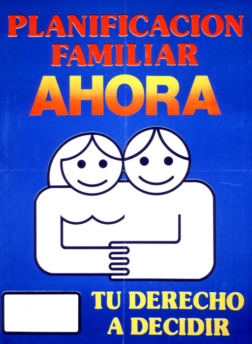 <p>Blue background with red, orange, and yellow lettering. Bottom half of poster is a line drawing of a man and woman (with a cartoon-quality appearance) smiling and their hands are joined. Text is above and below the drawing. A white rectangle with a blue border is in the lower left-hand corner.</p>