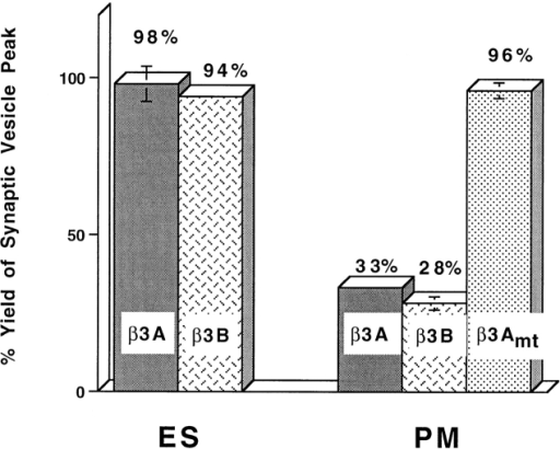 The putative appendage domain of β3 subunits of AP3  complex inhibits SV production from plasma membrane but not  that from endosome. Standard in vitro budding reactions were  performed with 4°C-labeled (PM) or 15°C-labeled (ES), Percoll-washed N49A/PC12 membranes in the presence or absence of  150 μM GST fusion proteins bearing appendage domain of β3A,  β3B, or β3Amt. The amount of SV production was normalized to  the control reaction incubated with added 150 μM GST.