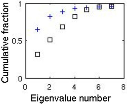 The cumulative fractional eigenvalue distribution. Shown for the variation in the randomly sampled metabolic network flux states before (crosses) and after (squares) eigenvector rotation.