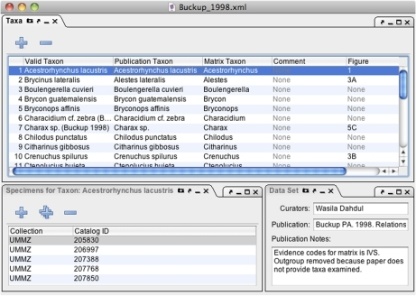 Phenex screenshot of window configured with panels for editing of taxon lists, voucher specimens, and publication information.