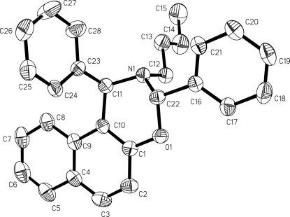 The molecular structure of the title compound, showing the atomic numbering scheme. Displacement ellipsoids are drawn at the 30% probability level.