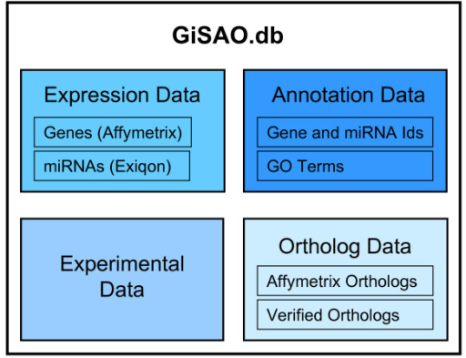 GiSAO overview. Four different types of data are stored in the database: gene expression data obtained from Affymetrix microarray experiments and miRNA expression data from Exiqon microarray experiments, annotations for genes and miRNAs including GO terms, orthologs data provided by Affymetrix as well as manually entered verified orthologs data and experimental data of follow-up experiments.