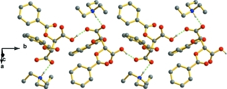 A partial packing view, showing the hydrogen bonding chain structure along [010].