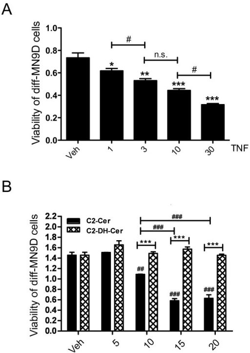 TNF and ceramide (but not dihydro-Ceramide) reduce viability of neurally differentiated MN9D dopaminergic (DA) cells.A, Dose-dependent cytotoxic cell death in diff-MN9D cells treated with TNF for 72 hrs. All values represent group means +/− SEM, n = 3–4. One-way ANOVA with Tukey's post-hoc; * denotes p < 0.05, ** denotes p < 0.01, and *** denotes p < 0.001 compared to vehicle (DMSO, 1%); for comparison between doses # denotes p < 0.05, n.s. denotes not significant. B, Dose-dependent C2-Ceramide-induced cytotoxic death in diff-MN9D cells. Cells were treated with ceramide (C2-Cer), or with equal concentrations of C2-dihydroceramide (C2-DH-Cer) as a negative control. All values represent group means +/− SEM, n = 3–4. Two-way ANOVA with Tukey's post-hoc test for comparing C2-Cer conditions to C2-DH-Cer conditions where **denotes p < 0.01, *** denotes p < 0.001. One-way ANOVA to test for dose-dependent cell death in C2-Cer conditions where # denotes p < 0.05, ### denotes p < 0.001 relative to vehicle or different C2-Cer conditions as indicated.