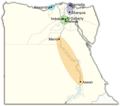 Map Displaying Locations Of Surveillance Sites Throug Openi - Map of egypt delta region