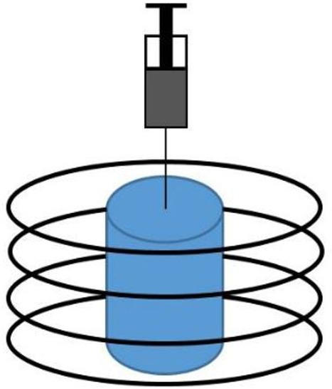 Schematic of coil and sample.