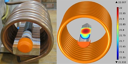 Experimental setup of dispersed nanoparticles inside gel and coils (left), Temperature contours for simulation after 1080 s (right).