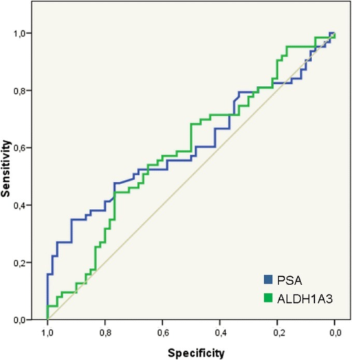 Diagnostic role of ALDH1A3 in urine samples.ROC curves from PSA and ALDH1A3 for predicting PCa in urine samples. The areas under the curve are 0.610 (95%CI 0.509–0.710; p = 0.036 and 0.591 (95% CI 0.490–0.692; p = 0.083) respectively. At a significance level of 10%, both PSA and ALDH1A3 were significantly associated with a positive biopsy of PCa.