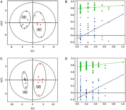 The score plots (left) and the permutation tests (right) derived from OPLS-DA models of (A, C) CS vs OP with the 5-round cross validation, (B, D) OP vs SO with the 5-round cross validation of 1H NMR spectra of aqueous liver extracts. Variables of score plots are autoscaling all variables to unit variance.