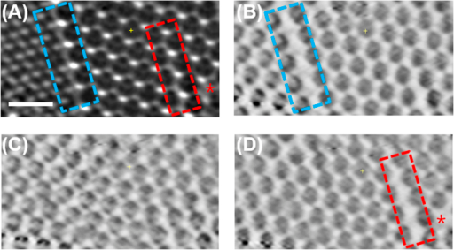 (A) TXM transmission image of triple layered PCs (scale bar of 1 μm). Internal line defect shown in blue dash box, and line and point defects on the surface denoted as the red dash box and red star, respectively. (B) The bottom (the first layer), (C) middle (the second layer) and (D) top layers (the third layer) of reconstructed image.
