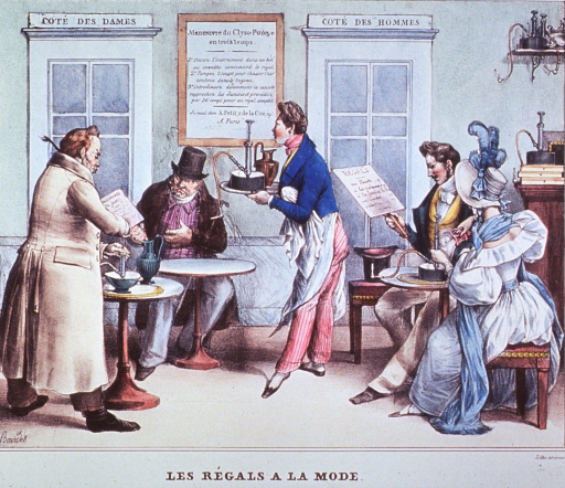 <p>Patrons sitting at tables; a couple to the right and two men, one standing at a table, the other sitting to the left; a waiter stands center holding a tray; in the background are two doors leading to respective toilet facilities.</p>