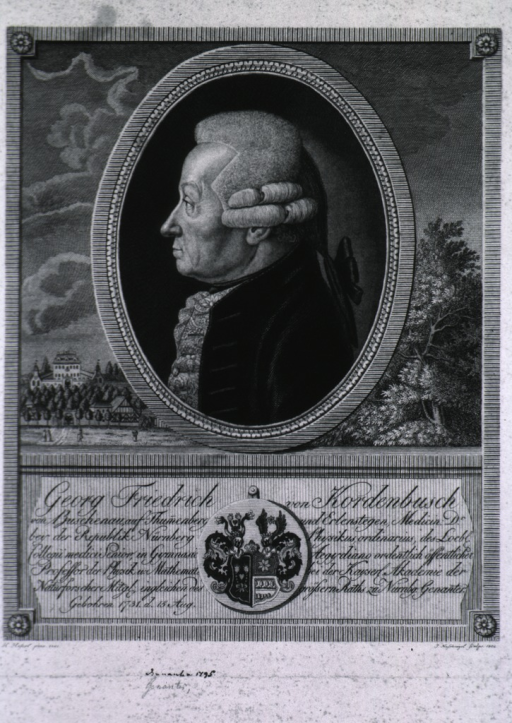 <p>Head and shoulders, left profile; in oval; coat-of-arms.</p>