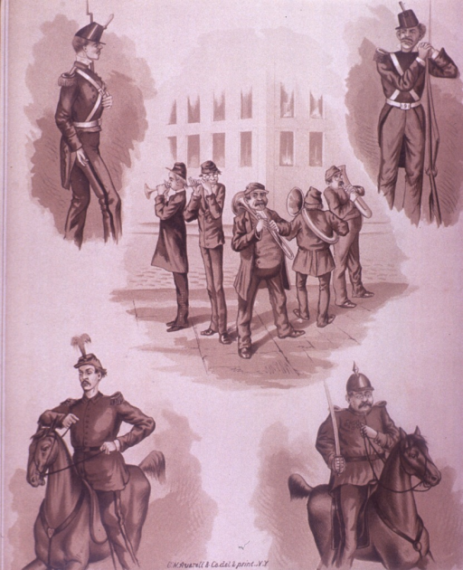 <p>Five drawings of men in uniform; two are on horseback, one is leaning against a rifle, one is marching, and a group is playing musical instruments.  On the verso are advertisements for Parker's Ginger Tonic, the printer Geo. W. Averell, and the paper dealer Miller &amp; (indistinct).</p>