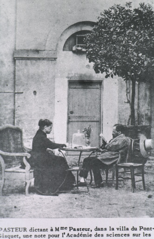 <p>Pasteur at villa of Pont-Gisquet, dictating to Mrs. Pasteur, a note to the Academy of Scheices on the sickness of silkworms.</p>