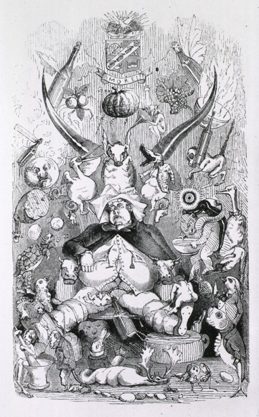 <p>Overstuffed man dozes and is plagued by visions (animals, food, bottles of wine, clyster, mortar and pestle, etc.) conjured up as a result of his overeating.</p>